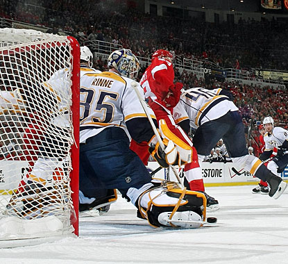 Pekka Rinne makes a skate save on this shot and sets his team up to take out Detroit Friday in Nashville. (Getty Images)