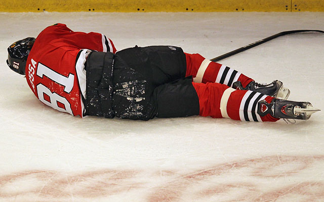 Avoiding scenes like Marian Hossa's scary stay on the ice Tuesday should be the main objective. (Getty Images)