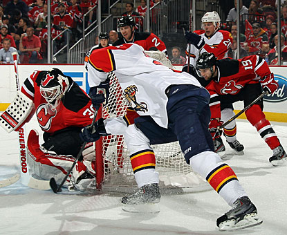 Martin Brodeur turns away everything thrown his way to record his 24th career shutout in the playoffs. (Getty Images)