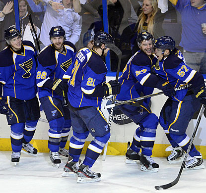 After losing the first game in double overtime, the Blues pick it up and become the second team to advance in the West. (US Presswire)