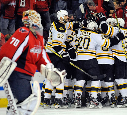 Braden Holtby skates away as the Bruins celebrate their second overtime victory of the series.  (Getty Images)