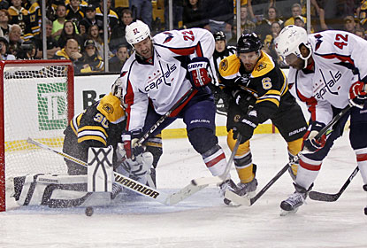 Joel Ward (42) finds a rebound down low and backhands the puck past Boston goalie Tim Thomas in overtime. (US Presswire)