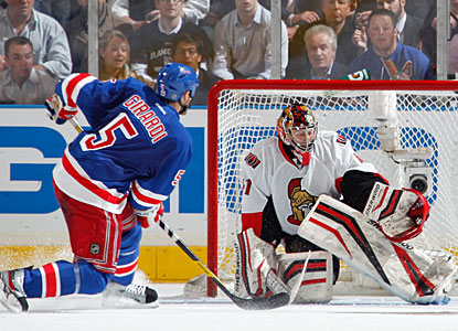 Dan Girardi beats Craig Anderson in the second for what proves to be the winning goal, also his first career playoff goal. (Getty Images)
