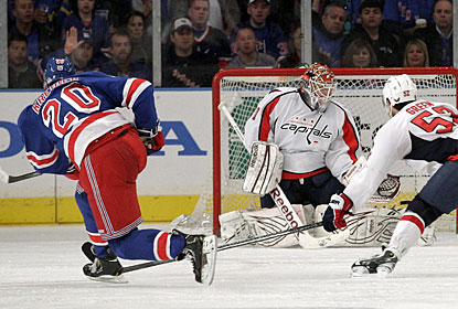 Rangers rookie Chris Kreider beats Braden Holtby with a rocket of a slap shot for the winning goal. (AP)