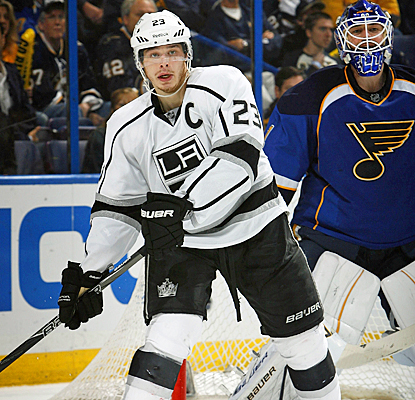 Dustin Brown may not light the lamp, but still registers three assists for the Kings in Game 2. (Getty Images)