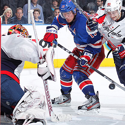 After an early first-period goal, the Rangers are scoreless until Brad Richards forces OT with a late score in regulation.  (Getty Images)