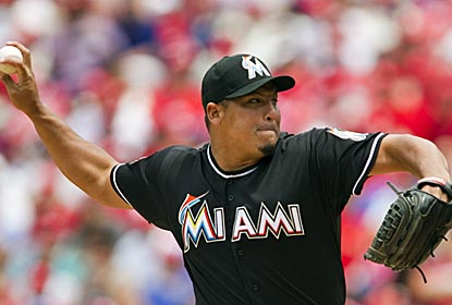 In addition to pitching into the eighth inning, Marlins starter Carlos Zambrano connects for a home run against the Phils.  (US Presswire)