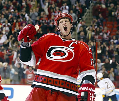 Eric Staal exults after scoring his first goal, which puts Carolina up 4-2 late in the second period.  (US Presswire)