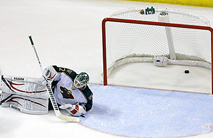 Wild goalie Niklas Backstrom gives up the winning goal to the Blues' Vladimir Sobotka (not pictured). (AP)
