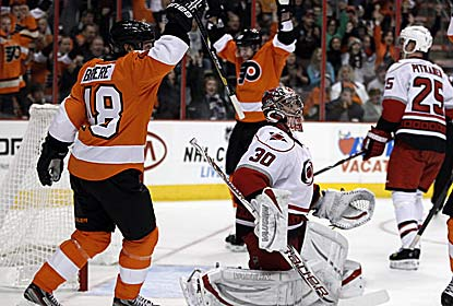 Danny Briere and Claude Giroux both play a key role in the win, contributing a goal and an assist apiece. (AP)