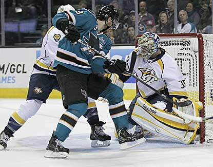 Pekka Rinne stops 26 shots and keeps San Jose from scoring in the shootout for a Nashville victory. (AP)