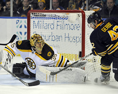 Bruins backup goalie Anton Khudobin stops 25 shots in just his second start of the season. (AP)