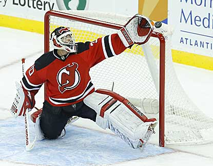 Devils goalie Martin Brodeur had 25 saves and an assist in New Jersey's 5-3 win. (US Presswire)