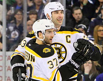 Patrice Bergeron (37) notches a pair of assists as the Bruins skate past Winnipeg in the third period. (Getty Images)