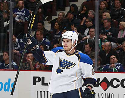 St. Louis' Vladimir Sobotka scores a third-period goal, and the Blues rally to beat Vancouver in a shootout. (Getty Images)