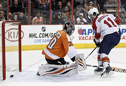 Florida's Jonathan Huberdeau scores on a penalty shot against Philadelphia's Ilya Bryzgalov in the first period.  (AP)