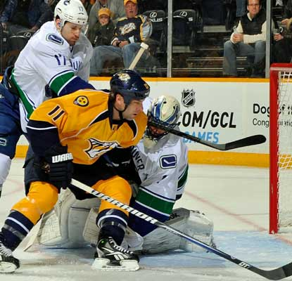 The Predators can't get anything by Roberto Luongo, who makes 23 saves in the shutout.  (Getty Images)