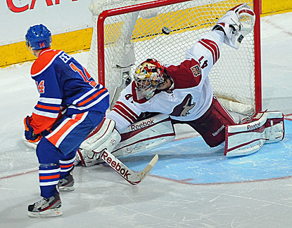 Jordan Eberle scores in regulation and in the shootout for Edmonton, which snaps a 2-game losing streak.  (Getty Images)