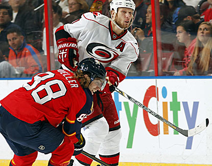 Jordan Staal is one of three Hurricanes to score against the Panthers.  Carolina beats Florida for the second straight night. (Getty Images)