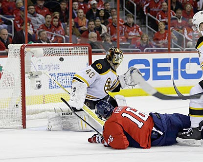 While falling down, Washington's Eric Fehr somehow puts the puck past Boston's Tuukka Rask for the overtime winner.  (Getty Images)