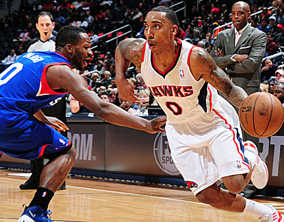 Atlanta point guard Jeff Teague leads the Hawks with 27 points against the struggling 76ers. (Getty Images)