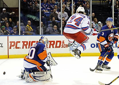 With Ryan Callahan setting a jumping screen, Marian Gaborik's shot gets past Islanders goalie Evgeni Nabokov in overtime.  (AP)