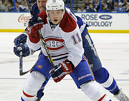 Brendan Gallagher breaks a tie with Montreal's third goal of the third period, helping the Canadiens push past Tampa Bay. (AP)