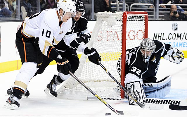 Corey Perry (10) and the Ducks just might run into Jonathan Quick and the Kings in the playoffs. (Getty Images)