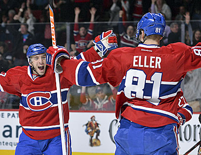 Lars Eller scores in the first period as well as in the shootout of the Canadiens' win over the Senators. (Getty Images)