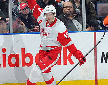 Pavel Datsyuk scores at 3:39 of overtime to give Detroit the victory over the Edmonton Oilers. (Getty Images)