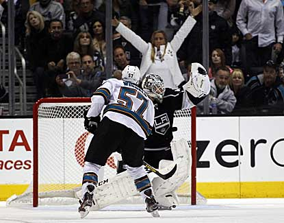 Kings goalie Jonathan Bernier makes the save on Tommy Wingels' penalty shot in the Kings' 5-2 win. (AP)