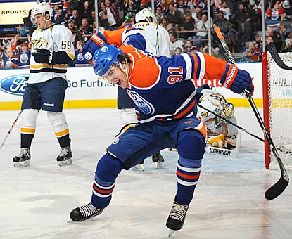 Edmonton left winger Magnus Paajarvi exults after his goal opens the scoring in the second period.  (Getty Images)