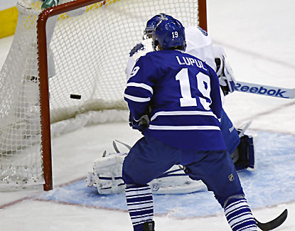 Joffrey Lupul scores a goal here and adds an assist in the Leafs' 4-2 win over the Lightning. (USATSI)