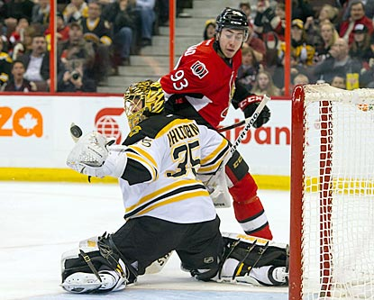 Bruins goalie Anton Khudobin denies Senators center Mika Zibanejad during the second period. Khudobin winds up with 27 saves.  (USATSI)