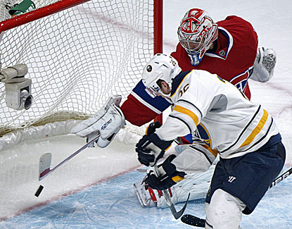 Thomas Vanek scores two goals for Buffalo against Montreal, giving the left winger 16 for the season. (AP)