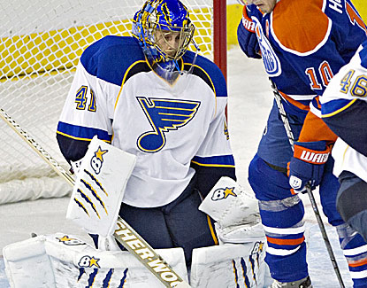 St. Louis goalie Jaroslav Halak stops 19 shots against Edmonton for his third shutout of the season. (AP)