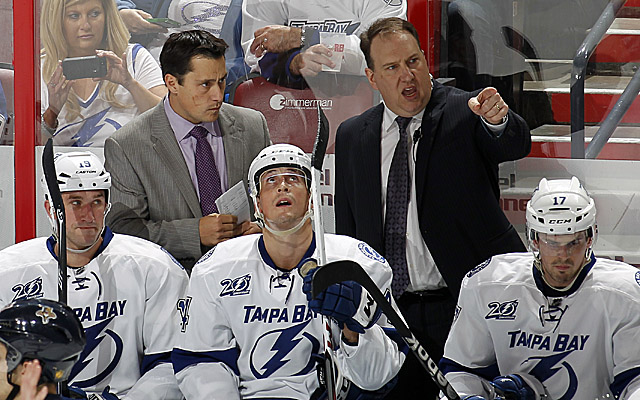 With the release of Boucher (left), assistant Martin Raymond will share interim duties in Tampa. (Getty Images)