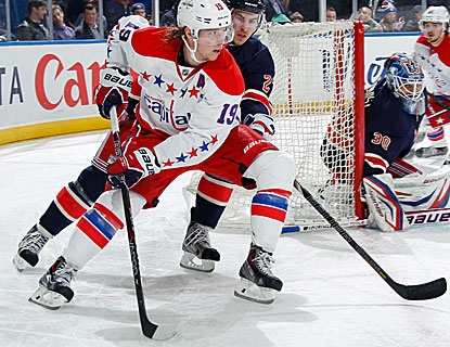 Nicklas Backstrom scores in regulation and in the shootout of the Capitals' win over the Rangers. (Getty Images)