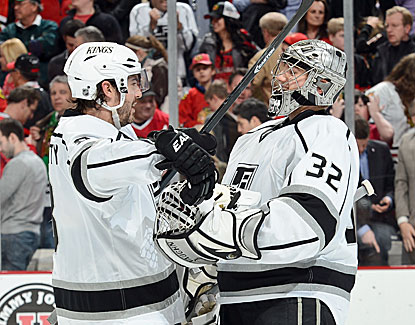 Drew Doughty scores a goal and Jonathan Quick makes 21 saves as the Kings edge the Blackhawks in a back-and-forth game. (Getty Images)