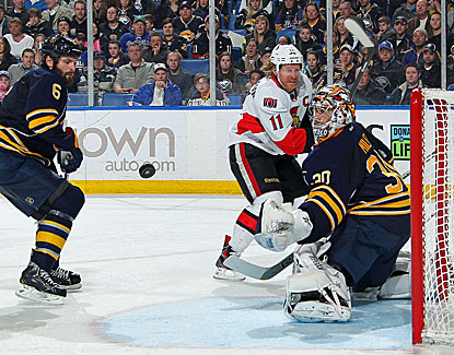 Goalie Ryan Miller stops 35 shots for the Sabres, who are still trying to make a push for the playoffs. (Getty Images)