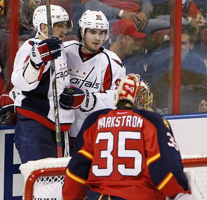 Alexander Ovechkin (top left) records his 12th career hat trick for the Caps, who are 8-2-1 in their last 11 games.  (USATSI)