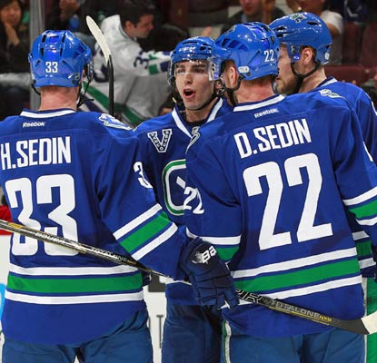 The Canucks score five goals and deal the Flames their fifth straight loss, 13th straight on the road.  (Getty Images)