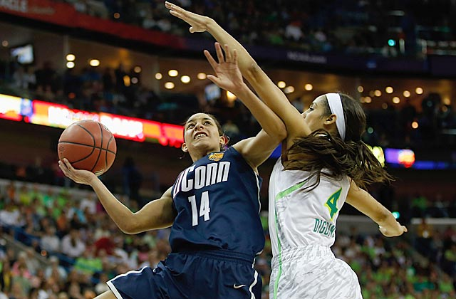 Bria Hartley provides a spark for UConn; Irish star Skylar Diggins bows out after shooting 3 for 15. (Getty Images)