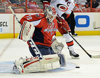 Washington goalie Braden Holtby makes one of his 43 saves for the Southeast Division leading Capitals. (Getty Images)