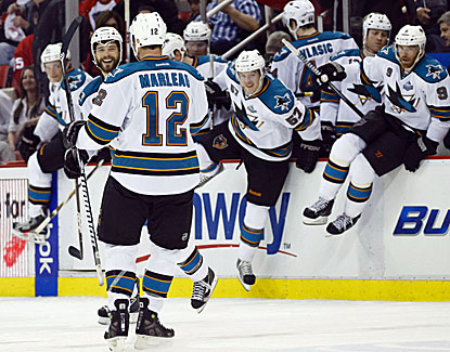 Patrick Marleau scores the winner in the shootout and also a short-handed goal early in the game for San Jose. (USATSI)