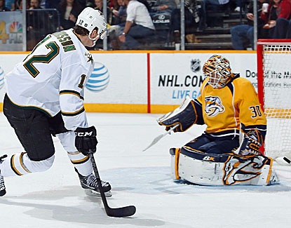 Dallas rookie Alex Chiasson scores two goals in the Stars' 5-2 victory over the Nashville Predators. (Getty Images)