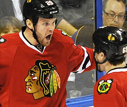 Bryan Bickell looks like he can hardly believe he ended Brian Elliott's shutout streak at 214 minutes.  (AP)