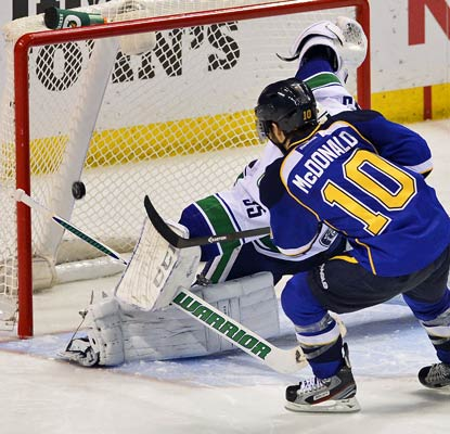 Andy McDonald beats Vancouver's Cory Schneider in the shootout to help the Blues strengthen their spot in the playoff race.  (USATSI)