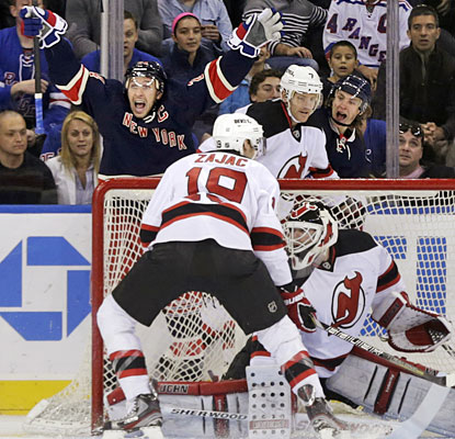 Ryan Callahan gets the Rangers started with a goal in the first minute, then caps the scoring in the third period.  (AP)