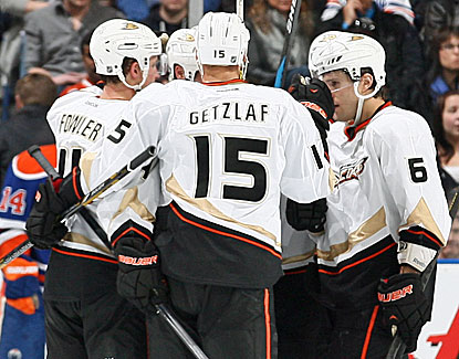 Cam Fowler scores a goal and celebrates with his Anaheim teammates. The Ducks are close to clinching the Pacific. (Getty Images)